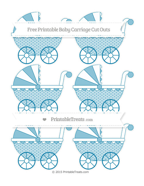Free Cerulean Blue Fish Scale Pattern Small Baby Carriage Cut Outs