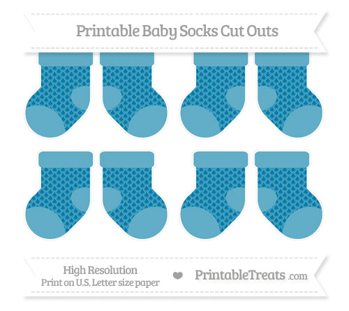Free Cerulean Blue Fish Scale Pattern Small Baby Socks Cut Outs