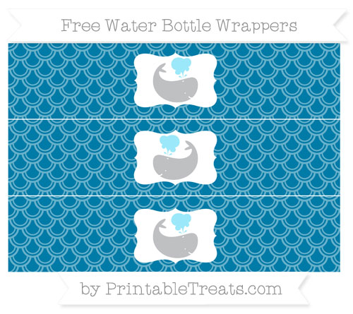 Free Cerulean Blue Fish Scale Pattern Whale Water Bottle Wrappers