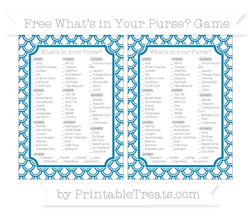 Free Cerulean Blue Fish Scale Pattern What's in Your Purse Baby Shower Game