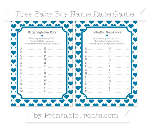 Free Cerulean Blue Heart Pattern Baby Boy Name Race Game