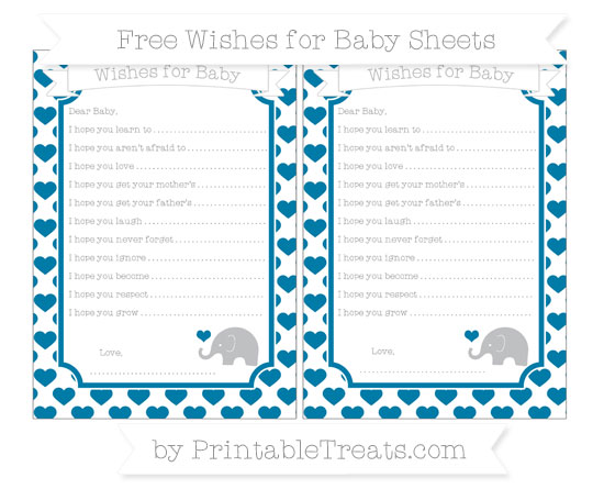 Free Cerulean Blue Heart Pattern Baby Elephant Wishes for Baby Sheets
