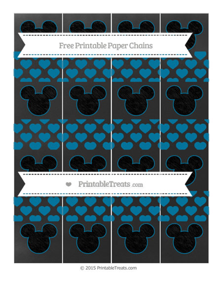 Free Cerulean Blue Heart Pattern Chalk Style Mickey Mouse Paper Chains