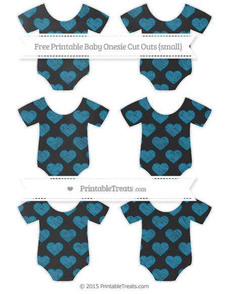 Free Cerulean Blue Heart Pattern Chalk Style Small Baby Onesie Cut Outs
