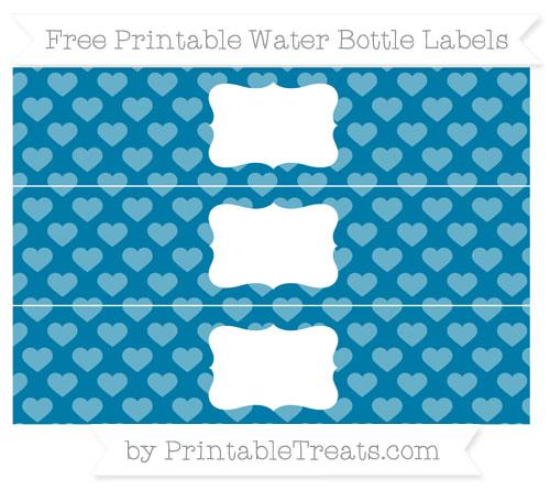 Free Cerulean Blue Heart Pattern Water Bottle Labels