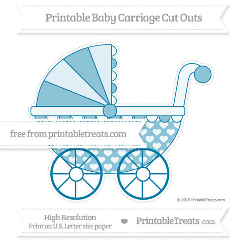 Free Cerulean Blue Heart Pattern Extra Large Baby Carriage Cut Outs