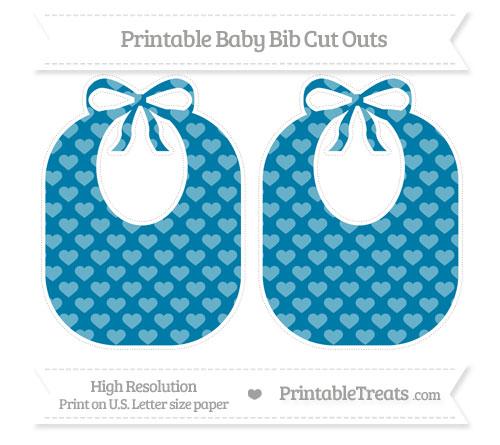 Free Cerulean Blue Heart Pattern Large Baby Bib Cut Outs