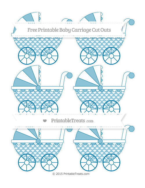 Free Cerulean Blue Heart Pattern Small Baby Carriage Cut Outs