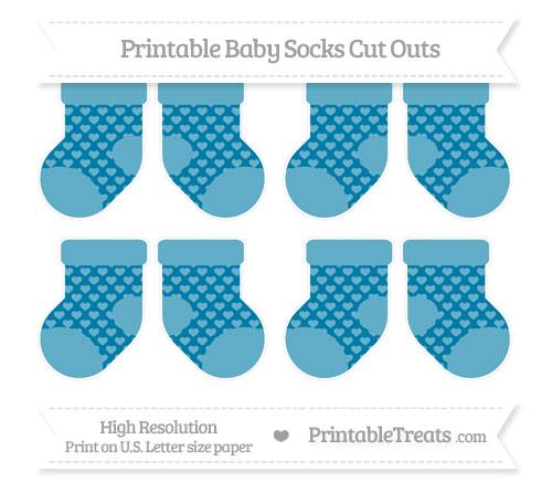 Free Cerulean Blue Heart Pattern Small Baby Socks Cut Outs