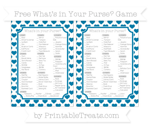 Free Cerulean Blue Heart Pattern What's in Your Purse Baby Shower Game