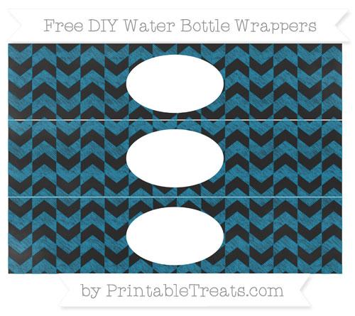 Free Cerulean Blue Herringbone Pattern Chalk Style DIY Water Bottle Wrappers