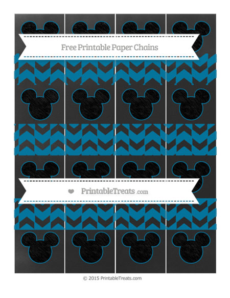 Free Cerulean Blue Herringbone Pattern Chalk Style Mickey Mouse Paper Chains