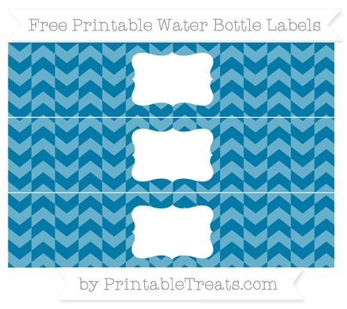 Free Cerulean Blue Herringbone Pattern Water Bottle Labels