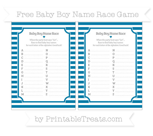 Free Cerulean Blue Horizontal Striped Baby Boy Name Race Game