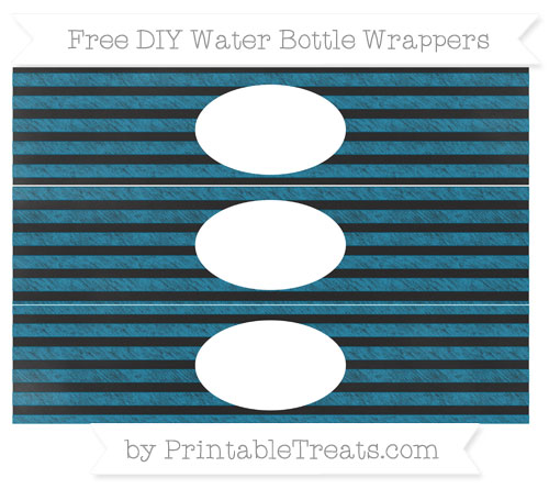 Free Cerulean Blue Horizontal Striped Chalk Style DIY Water Bottle Wrappers