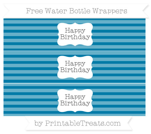 Free Cerulean Blue Horizontal Striped Happy Birhtday Water Bottle Wrappers