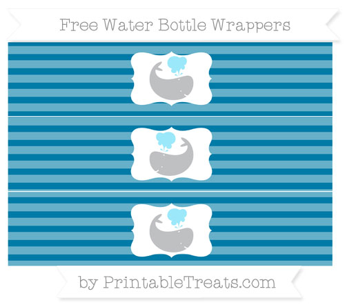 Free Cerulean Blue Horizontal Striped Whale Water Bottle Wrappers