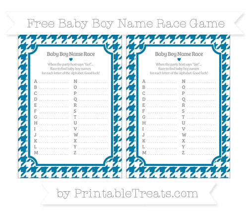 Free Cerulean Blue Houndstooth Pattern Baby Boy Name Race Game