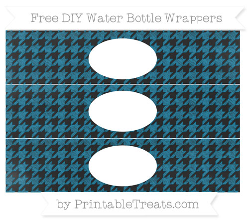 Free Cerulean Blue Houndstooth Pattern Chalk Style DIY Water Bottle Wrappers