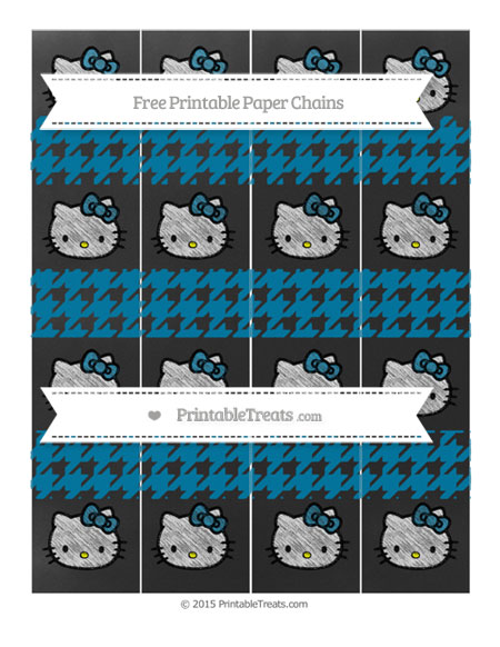 Free Cerulean Blue Houndstooth Pattern Chalk Style Hello Kitty Paper Chains