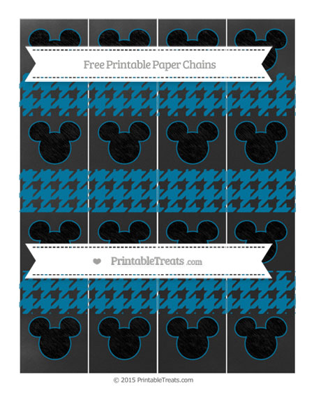 Free Cerulean Blue Houndstooth Pattern Chalk Style Mickey Mouse Paper Chains