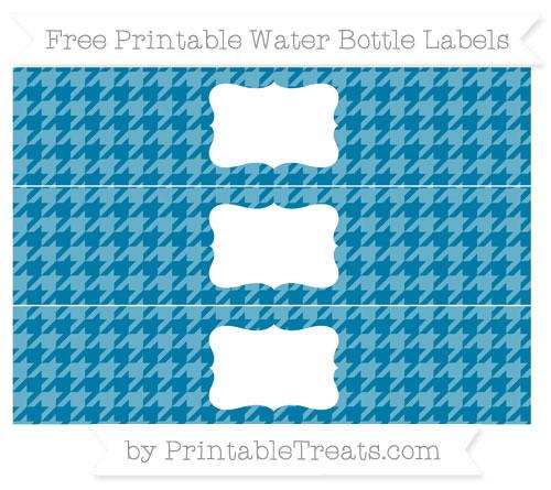 Free Cerulean Blue Houndstooth Pattern Water Bottle Labels