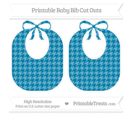 Free Cerulean Blue Houndstooth Pattern Large Baby Bib Cut Outs