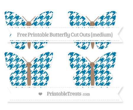 Free Cerulean Blue Houndstooth Pattern Medium Butterfly Cut Outs