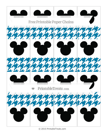 Free Cerulean Blue Houndstooth Pattern Mickey Mouse Paper Chains