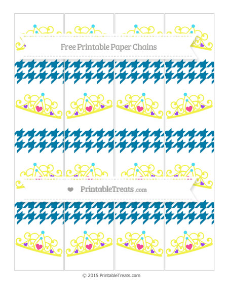 Free Cerulean Blue Houndstooth Pattern Princess Tiara Paper Chains