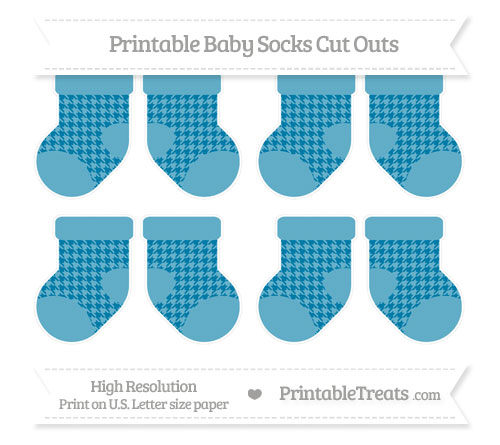 Free Cerulean Blue Houndstooth Pattern Small Baby Socks Cut Outs