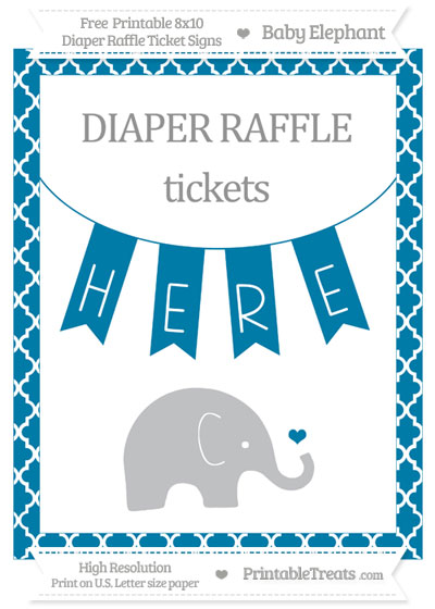Free Cerulean Blue Moroccan Tile Baby Elephant 8x10 Diaper Raffle Ticket Sign