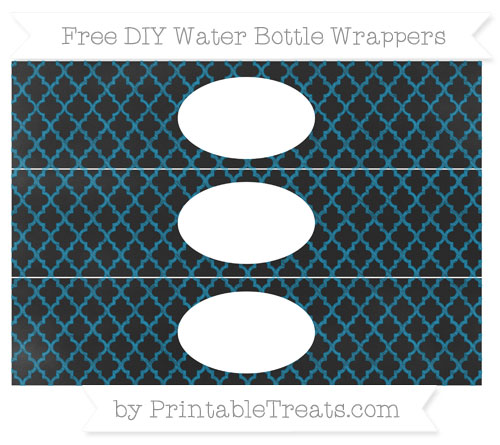 Free Cerulean Blue Moroccan Tile Chalk Style DIY Water Bottle Wrappers