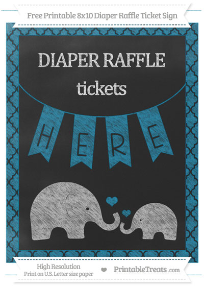 Free Cerulean Blue Moroccan Tile Chalk Style Elephant 8x10 Diaper Raffle Ticket Sign