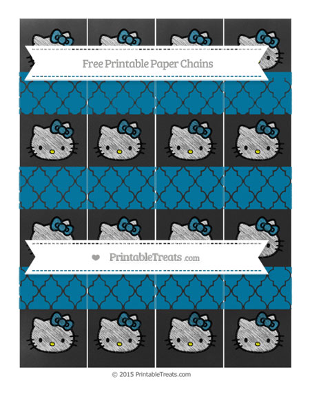 Free Cerulean Blue Moroccan Tile Chalk Style Hello Kitty Paper Chains