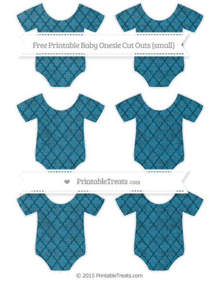 Free Cerulean Blue Moroccan Tile Chalk Style Small Baby Onesie Cut Outs