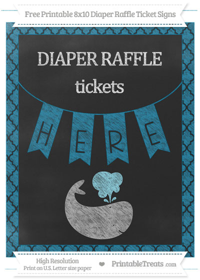 Free Cerulean Blue Moroccan Tile Chalk Style Whale 8x10 Diaper Raffle Ticket Sign