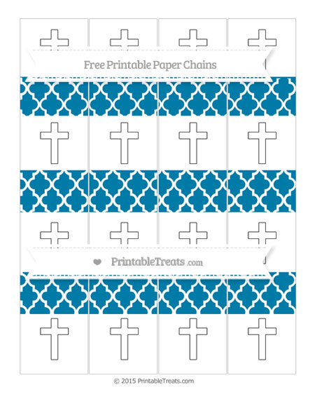 Free Cerulean Blue Moroccan Tile Cross Paper Chains