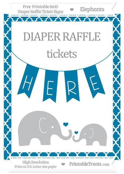 Free Cerulean Blue Moroccan Tile Elephant 8x10 Diaper Raffle Ticket Sign
