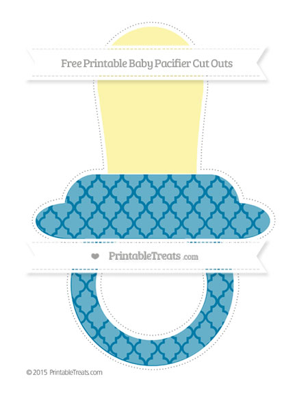 Free Cerulean Blue Moroccan Tile Extra Large Baby Pacifier Cut Outs