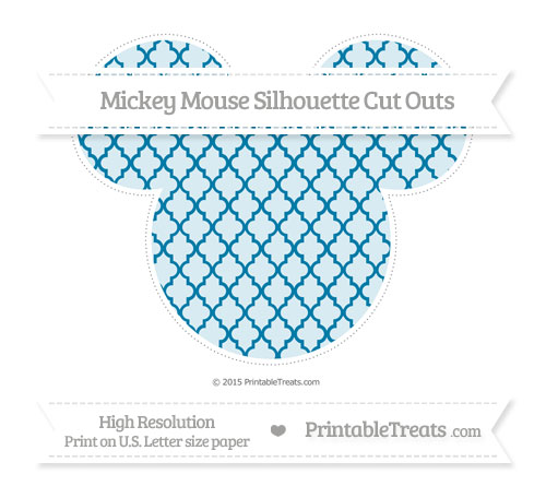 Free Cerulean Blue Moroccan Tile Extra Large Mickey Mouse Silhouette Cut Outs