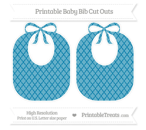 Free Cerulean Blue Moroccan Tile Large Baby Bib Cut Outs