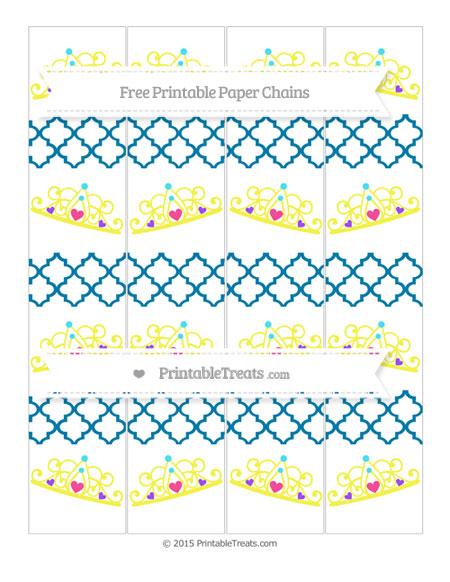 Free Cerulean Blue Moroccan Tile Princess Tiara Paper Chains