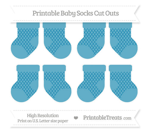 Free Cerulean Blue Moroccan Tile Small Baby Socks Cut Outs