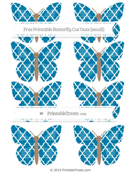 Free Cerulean Blue Moroccan Tile Small Butterfly Cut Outs