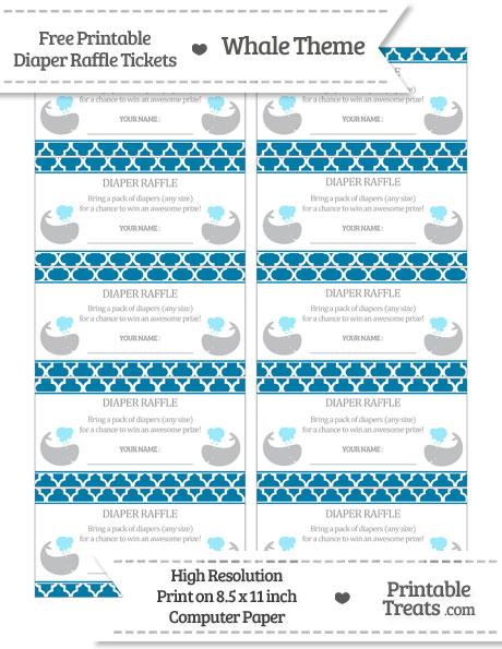 Free Cerulean Blue Moroccan Tile Whale Diaper Raffle Tickets