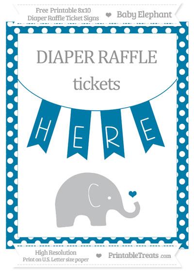 Free Cerulean Blue Polka Dot Baby Elephant 8x10 Diaper Raffle Ticket Sign