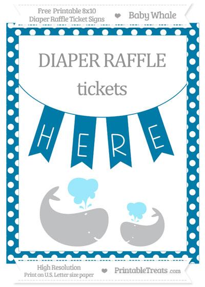 Free Cerulean Blue Polka Dot Baby Whale 8x10 Diaper Raffle Ticket Sign