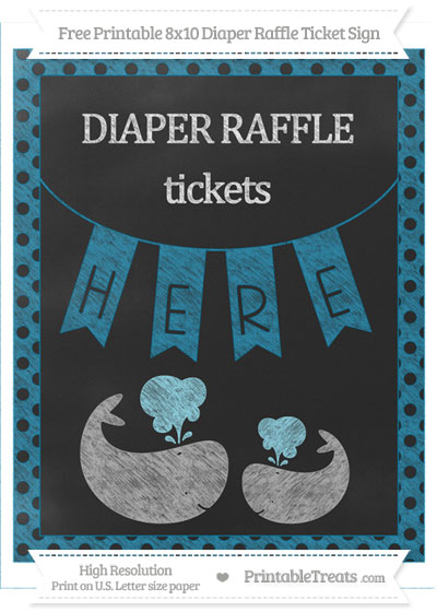 Free Cerulean Blue Polka Dot Chalk Style Baby Whale 8x10 Diaper Raffle Ticket Sign