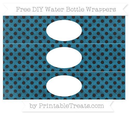 Free Cerulean Blue Polka Dot Chalk Style DIY Water Bottle Wrappers